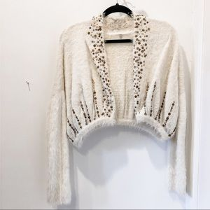 Anthro white angora open cardigan with sequins